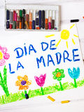 Spanish Mothers Day card with words `Mothers day` Royalty Free Stock Photography