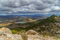 Spanish mountain views with distant Mediterranean sea.  royalty free stock photography