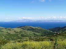 Spanish Mountains. View of the African Coast from the spanish mountains Royalty Free Stock Photos