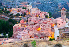 Spanish mountains town in evening. Albarracin Royalty Free Stock Images