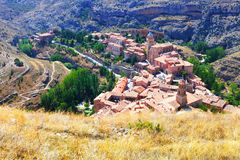 Spanish mountains town in sunny day. Albarracin Royalty Free Stock Image