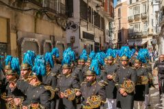 Spanish musicians playing music during an Holy Week procession,. Malaga, Spain - March 27, 2018. Spanish musicians playing music during an Holy Week procession stock images