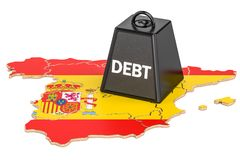 Spanish national debt or budget deficit, financial crisis concep. T, 3D Stock Photos