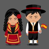 Spanish in national dress with a flag. Boy and girl in traditional costume. Travel to Spain. People. Vector flat illustration vector illustration