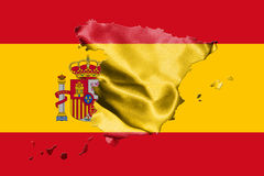 Spanish National Flag With Coat Of Arms and Map Of Spain 3D illu Stock Photography