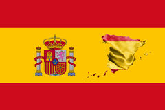 Spanish National Flag With Coat Of Arms and Map Of Spain 3D illu Stock Photo