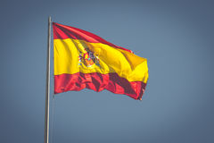Spanish national flag. in Madrid, Spain Royalty Free Stock Photo