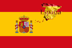 Spanish National Flag and Map With Country Name Written On It 3D Stock Photography