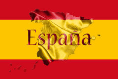 Spanish National Flag and Map With Country Name Written On It 3D Royalty Free Stock Photo