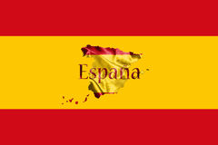 Spanish National Flag and Map With Country Name Written On It 3D Stock Photos