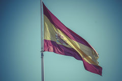 Spanish national flag. Plaza de Colon in Madrid, Spain. Royalty Free Stock Image