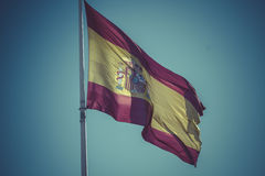 Spanish national flag. Plaza de Colon in Madrid, Spain. Stock Photography