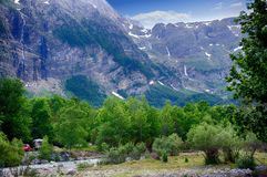 Alpine rill and mountaine forest in the National Park of Ordesa. Spanish National Park of Ordesa in the Pyrenees in a zone of rills and runlets between cliffs Stock Photography