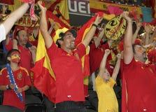 Spanish national team fans. DONETSK, UKRAINE - JUNE 23, 2012: Spanish national team fans celebrate victory in quarterfinal EURO 2012 Spain vs. France. Spain won Royalty Free Stock Photography