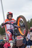 Spanish National Trial Championships. LA NUCIA, SPAIN - FEBRUARY 11th 2018: Repsol Honda rider and World Champion Toni Bou  jumps over an obstacle at the Spanish Stock Image