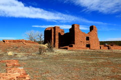 Spanish and native ruins. Spanish colonial church ruin at Quarai.  The native american pueblo here is pre spanish and dates to around 1300.  Both native and Royalty Free Stock Photo