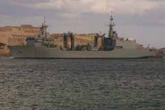 Spanish Navy Oiler. `Cantabria` support vessel. 174 meters, official navy number A15. Vessel on a visit to Grand Harbour, Valletta, Malta royalty free stock photo