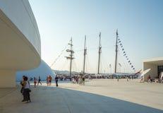 Spanish Navy Ship, Juan Sebastian Elcano, docked in the port bes Royalty Free Stock Images
