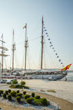 Spanish Navy Ship, Juan Sebastian Elcano, docked in the port bes Stock Images
