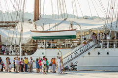 Spanish Navy Ship, Juan Sebastian Elcano, docked in the port bes Royalty Free Stock Image