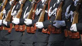 Spanish Navy Soldiers. Marching on a military parade. Madrid, day of Hispanity Royalty Free Stock Photo