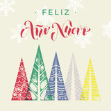 Spanish New Year Ano Nuevo winter background greeting card. Winter forest background with winter trees greeting card. Happy New Year greeting card text with Stock Photo