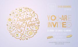 Invitation For New Year Party Of Golden Decoration For Holiday Event