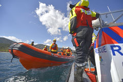 The Spanish ngo Proactiva Open Arms rescue team. Royalty Free Stock Photography