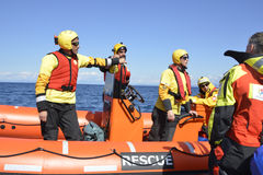 The Spanish ngo Proactiva Open Arms rescue team. Royalty Free Stock Image