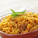 Spanish noodles with chicken Royalty Free Stock Photos