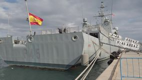 """The Spanish Offshore Patrol Vessel """"Audaz"""" P-45 in the port of Valencia, Spain."""