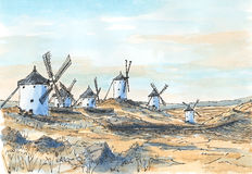 Spanish old-fashioned windmills in Consuegra, Castile. Sketch ink lines and watercolor on paper Stock Photos