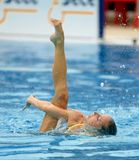 Spanish olympic medalist Gemma Mengual. Swims a solo exercise during the Espana Sincro meeting in Barcelona Picornell Swimpool, June 14, 2007 in Barcelona Stock Photos