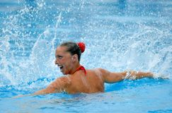 Spanish olympic medalist Gemma Mengual. Swims a solo exercise during the Espana Sincro meeting in Barcelona Picornell Swimpool, June 14, 2007 in Barcelona Stock Photo