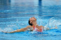 Spanish olympic medalist Gemma Mengual. Swims a solo exercise during the Espana Sincro meeting in Barcelona Picornell Swimpool, June 14, 2007 in Barcelona Stock Photography