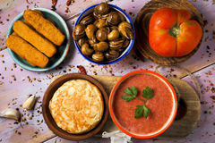 Spanish omelet, gazpacho, escargots, fish sticks royalty free stock photo