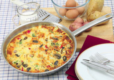 Spanish omelet in pan horizontal Stock Images