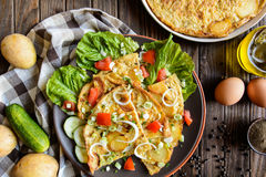 Spanish omelet with potato and onion Stock Photography