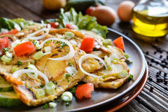 Spanish omelet with potato and onion Stock Photo