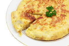 Spanish omelet of potatoes. Recipe for spanish omelet made with potatoes and egg trimmed and isolated Stock Photo