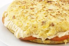 Spanish omelet stuffed with rice cream Stock Image