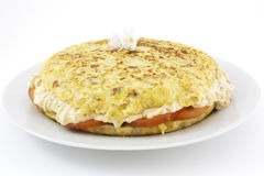 Spanish omelet stuffed with rice cream Stock Photos
