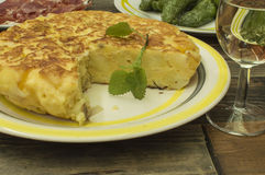 Spanish omelet. On the table Royalty Free Stock Image