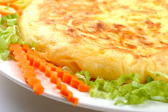 Spanish omelette 02. Detail of spanish omelette with vegs stock image