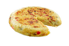 Spanish omelette. Spanish omelet of potatoes peppers and egg on white background Royalty Free Stock Images