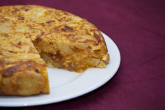 Spanish omelette. With chorizo ??and peppers royalty free stock photos