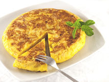Spanish omelette with fork Stock Image