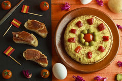 Spanish omelette and ham brochettes Stock Photos