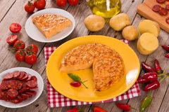 Spanish omelette. Spanish omelette with chorizo and chilli peppers royalty free stock photos