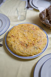 Spanish omelette on a table Royalty Free Stock Photo